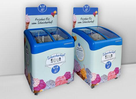 Eistruhen beschriftet für Einzelhandel