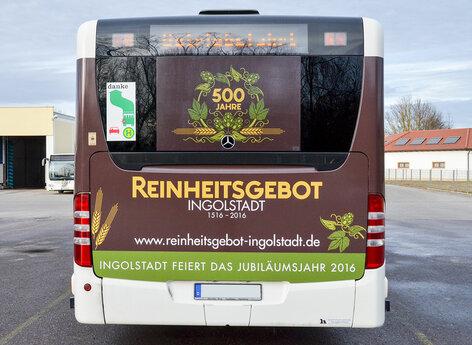 Stadtbus Ingolstadt Beschriftung Heck mit Fensterlochfolie