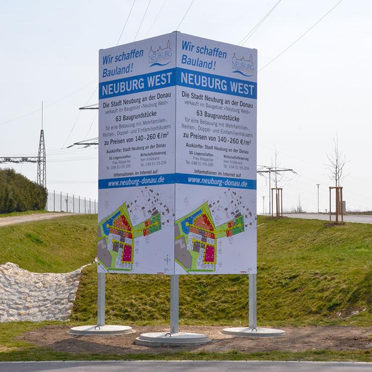 Bautafel für Neubaugebiet