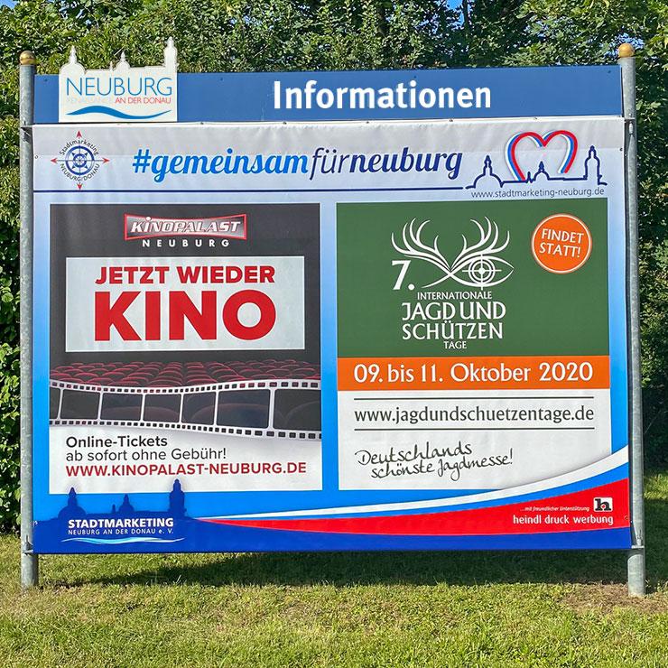 Die städtischen Informationsflächen können für Werbeaktionen oder bei Veranstaltungen mit Großplakaten ausgestattet werden.