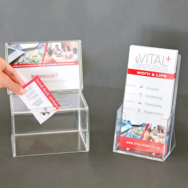 Einwurfboxen für Visitenkarten und Prospektständer
