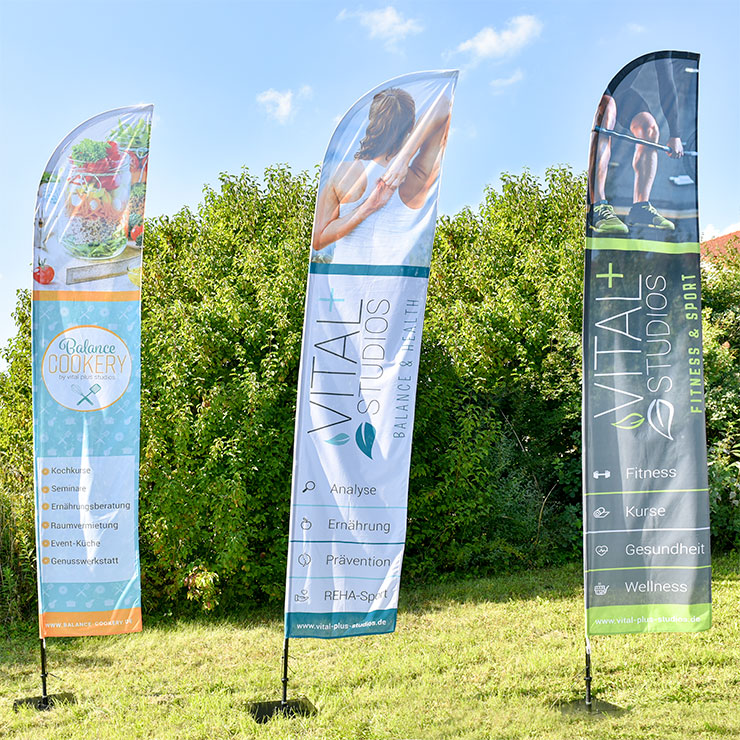 Beachflags in Flossenform mit Grundplatte